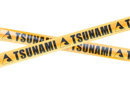 Tsunami Caution Barrier Tapes, 3D rendering
