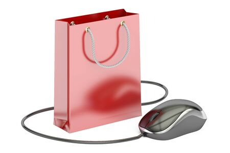 e-shopping concept, shopping bag with computer mouse. 3D rendering isolated on white background