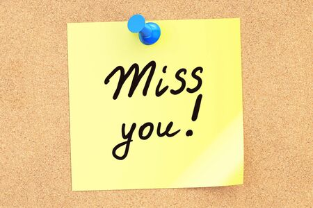 Miss You! Text on a sticky note pinned to a corkboard. 3D rendering Stock Photo