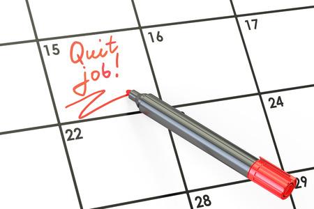 quit: Quit Job! Date on calendar concept, 3D rendering