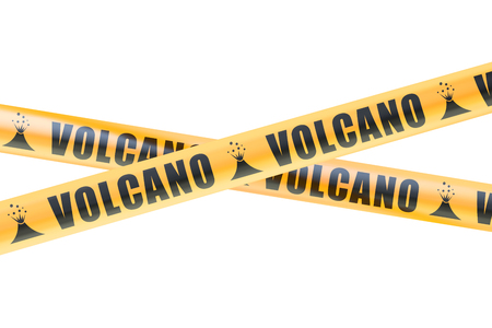 cordon: Volcano Caution Barrier Tapes, 3D rendering isolated on white background Stock Photo