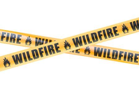 Verheerendes Feuer Vorsicht Absperrbänder, 3D-Rendering auf weißem Hintergrund