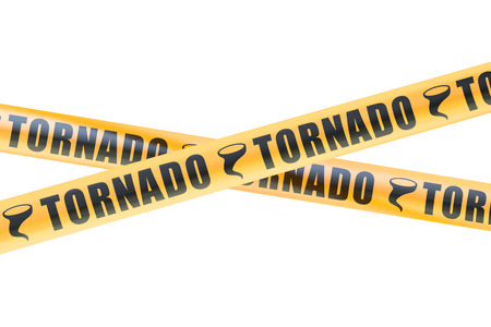 cordon: Tornado Caution Barrier Tapes, 3D rendering isolated on white background