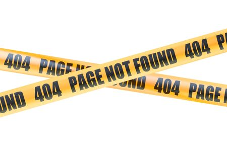 page not found: 404 Not Found Caution Barrier Tapes, 3D rendering isolated on white background Stock Photo