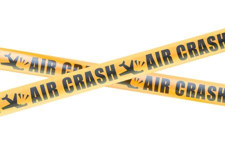 Flugzeugabsturz Vorsicht Absperrbänder, 3D isoliert Rendering auf weißem Hintergrund Standard-Bild