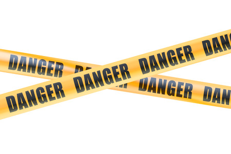 cordon: Danger Caution Barrier Tapes, 3D rendering isolated on white background Stock Photo