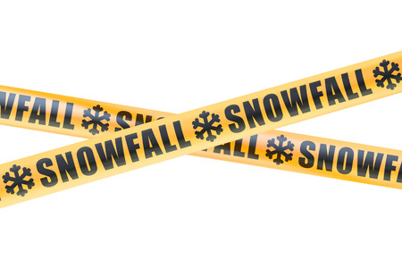 cordon: Snowfall Caution Barrier Tapes, 3D rendering isolated on white background