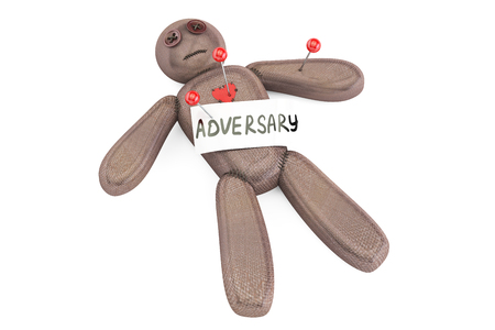 venganza: muñeco de vudú adversario con agujas, representación 3D aislada en el fondo blanco