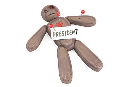 venganza: Presidente muñeco vudú con agujas, representación 3D aislada en el fondo blanco