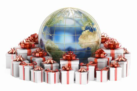 holiday shopping: Global holiday shopping concept, Earth with gift boxes. 3D rendering isolated on white background