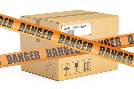 dangerous parcels concept, 3D rendering isolated on white background