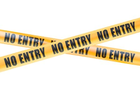 cordon: No Entry Caution Barrier Tapes, 3D rendering  isolated on white background