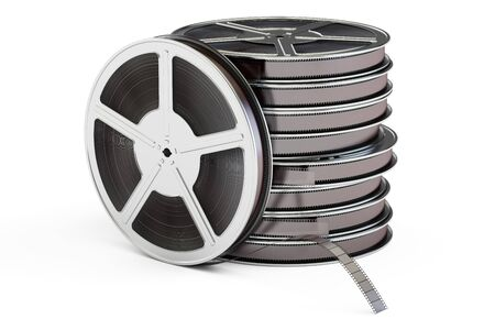 Set of film reels, 3D rendering isolated on white background Stock Photo