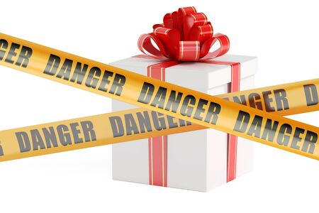 dangerous gift box concept, 3D rendering isolated on white background