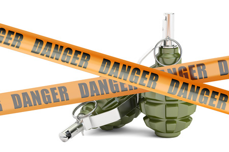 Danger caution barrier tapes with two grenades, 3D rendering isolated on white background Stock Photo