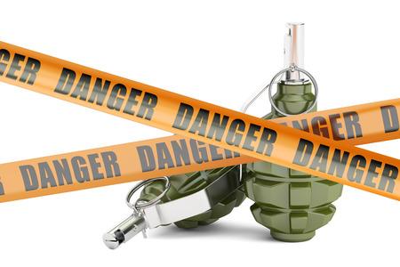 Gefahr Vorsicht Absperrbänder mit zwei Granaten, 3D-Rendering auf weißem Hintergrund Standard-Bild