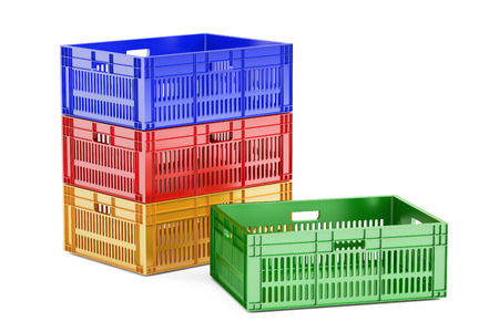 colored plastic crates, 3D rendering isolated on white background