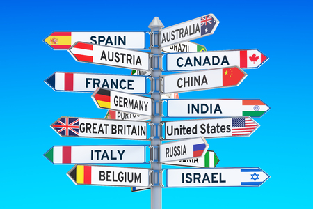 signpost with names of countries, 3D rendering