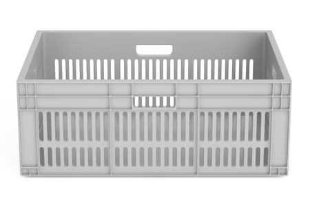 plastic crate, 3D rendering isolated on white background