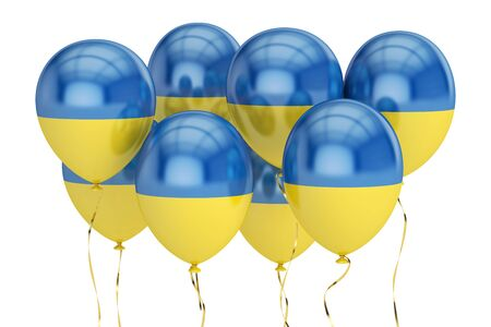 Balloons with flag of Ukraine, holyday concept. 3D rendering isolated on white background