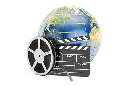 world cinema concept, 3D rendering isolated on white background