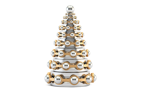 Abstract metallic Christmas Tree from bearings, 3D rendering isolated on white background