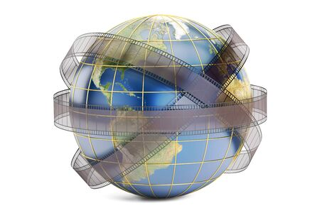world cinema and cinematography concept, 3D rendering isolated on white background