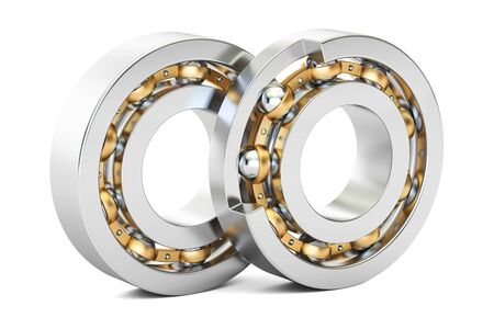 Ball bearings, cutaway. 3D rendering isolated on white background