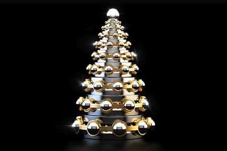 抽象的なベアリング、金属クリスマス ツリーの分離された黒い背景のレンダリング 3 D
