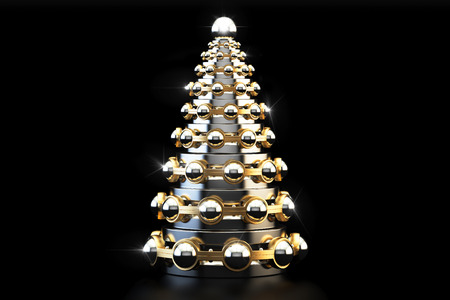 Abstract metallic Christmas Tree from bearings, 3D rendering isolated on black background
