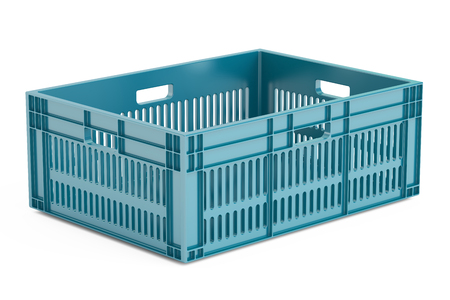 blue plastic crate, 3D rendering isolated on white background