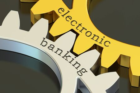 electronic banking: Electronic Banking concept on the gearwheels, 3D rendering Stock Photo