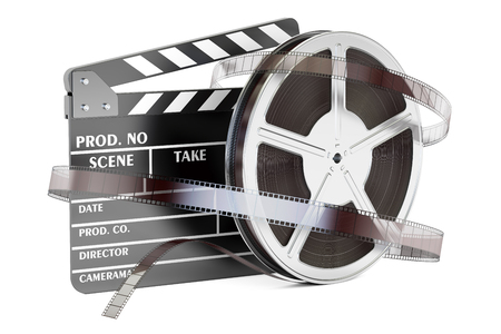 cinematography: Cinema and cinematography concept. Clapperboard with film reels, 3D rendering isolated on white background Stock Photo