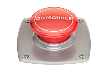 outsource: Outsource Red Button, 3D rendering isolated on white background
