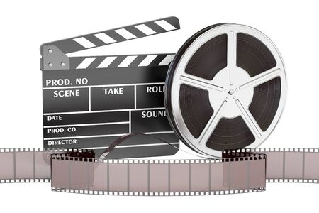 cinema, movie and cinematography concept, 3D rendering isolated on white background