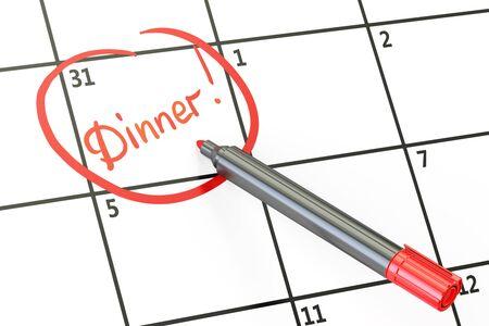 dinner date: Dinner date on calendar concept, 3D rendering