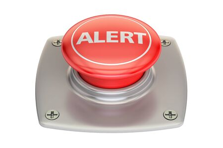 activate: alert red button, 3D rendering isolated on white background Stock Photo