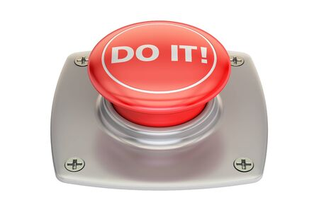 do it: Do It! Red button, 3D rendering isolated on white background