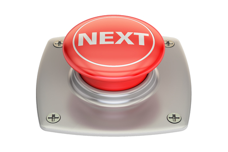 background next: Next Red button, 3D rendering isolated on white background