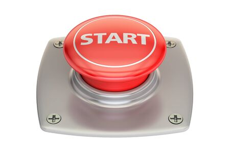 red button: Start red button, 3D rendering isolated on white background Stock Photo