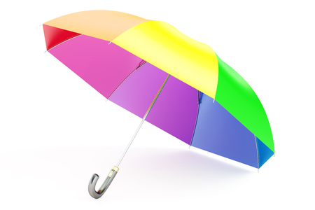 colorful umbrella, 3D rendering isolated on white background