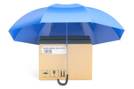 safety delivery concept, umbrella with parcel, 3D rendering isolated on white background