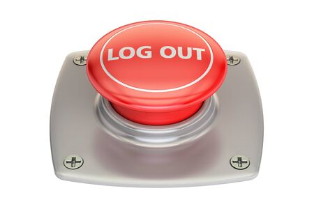 log out: Log out Red button, 3D rendering isolated on white background Stock Photo