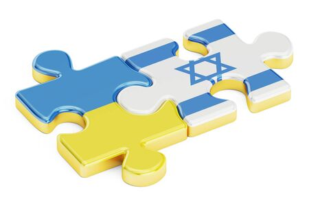 Ukraine and Israel puzzles from flags, relation concept. 3D rendering isolated on white background