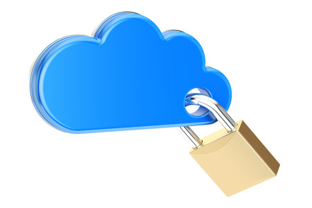 Computing Cloud with padlock. Security and protection concept, 3D rendering isolated on white background