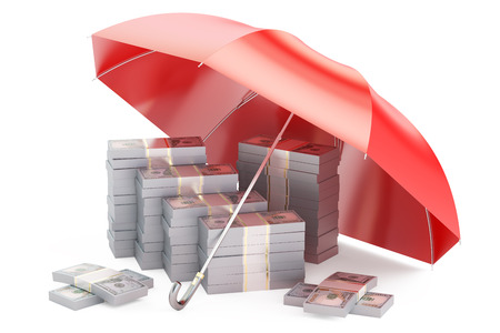 red umbrella: Stability and protection in financial, business and insurance concept, 3D rendering. Dollars covered by red umbrella isolated on white background