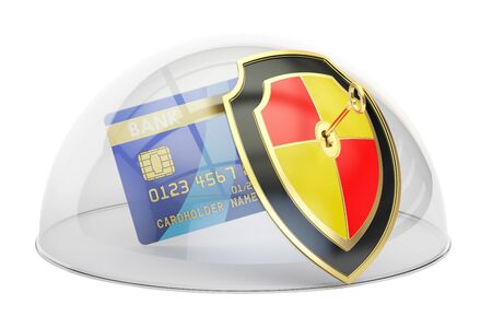 safest: Credit card with security shield and glass dome. Protection concept, 3D rendering isolated on white background Stock Photo