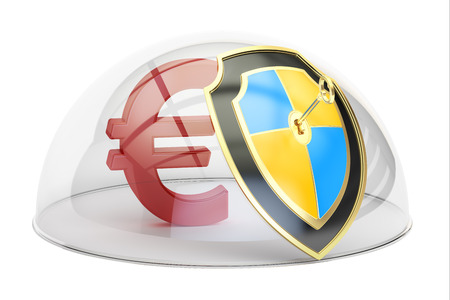 safest: Euro symbol under a glass dome, stability and protection concept 3D rendering isolated on white background