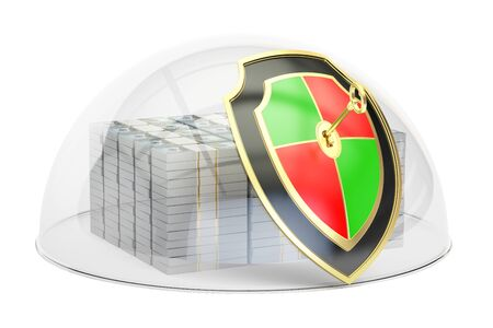 Packs of dollars with glass dome and shield, financial insurance and business stability concept, 3D rendering