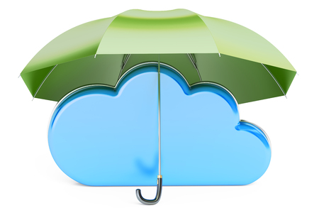 Computing Cloud covered by umbrella. Security and protection concept, 3D rendering isolated on white background